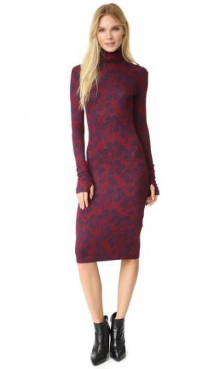 Вязаное платье с воротником под горло Rodebjer. Цвет: темно-синий/винный
