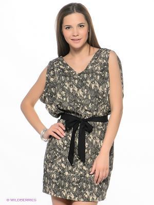 Платье ICHI. Цвет: черный, бежевый