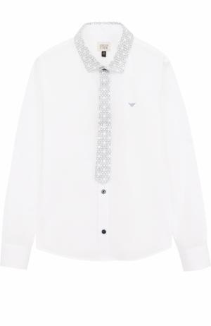 Хлопковая рубашка с отделкой Armani Junior. Цвет: белый