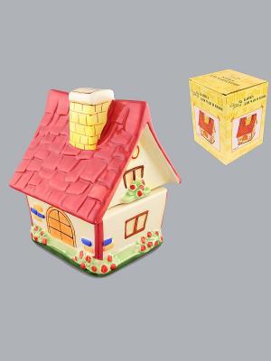 Банка для чая и кофе Английский домик Elan Gallery. Цвет: красный, желтый, молочный