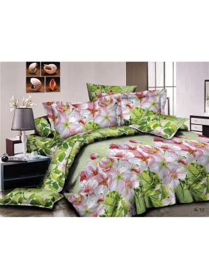 Комплект постельного белья СЛИМ-САТИН, 2сп Dorothy's Нome. Цвет: зеленый, розовый, белый
