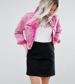 ASOS Petite Розовая выбеленная джинсовая куртка. Цвет: розовый