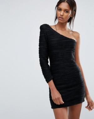 Jasmine Платье на одно плечо со сборками. Цвет: черный