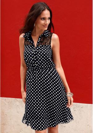 Платье MY STYLE. Цвет: молочно-белый/бежевый, черный/белый