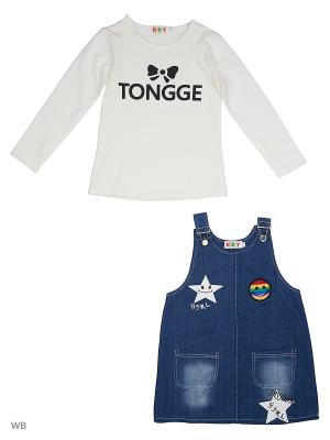 Сарафан джинсовый и джемпер Kidly. Цвет: белый, синий