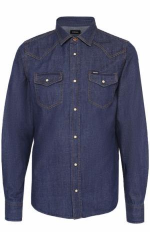 Джинсовая рубашка на кнопках Diesel. Цвет: синий