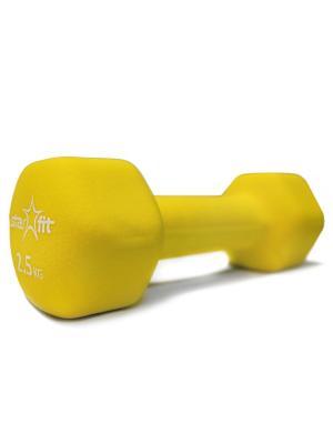 Гантель неопреновая STARFIT DB-201 2,5 кг, желтая (1 шт.). Цвет: желтый