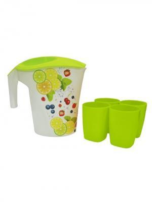 Кувшин Фрукты 3 л и 4 стакана Plastic Centre. Цвет: салатовый