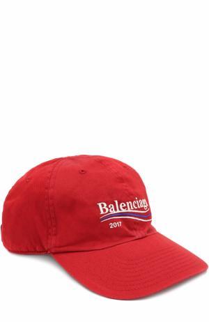 Хлопковая бейсболка с логотипом бренда Balenciaga. Цвет: красный