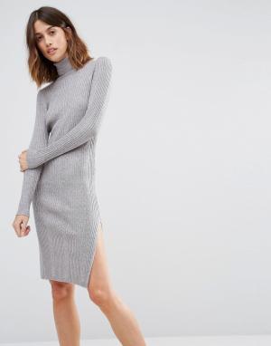 Vero Moda Платье-водолазка с длинными рукавами. Цвет: серый