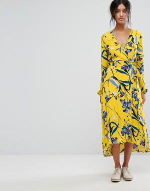 Gestuz Платье с запахом Lemon. Цвет: мульти