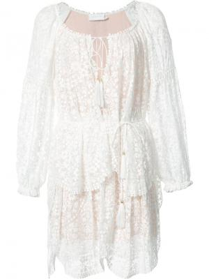 Кружевное платье Zimmermann. Цвет: белый