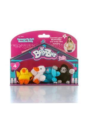 Beanzeez мини плюш в наборе Цыпленок, Утенок, Кролик, Горилла. Цвет: розовый