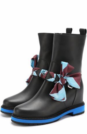 Кожаные ботинки с бантом и контрастной окантовкой Fendi. Цвет: черный