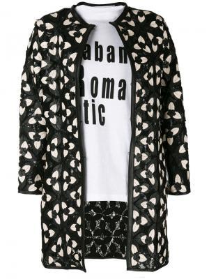Пиджак с цветочными заплатками Caban Romantic. Цвет: чёрный
