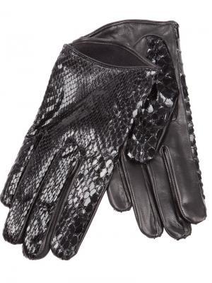 Блестящие перчатки с эффектом змеиной кожи Imoni. Цвет: чёрный