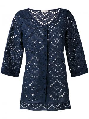 Блузка на пуговицах с удлиненной спинкой Mantu. Цвет: синий