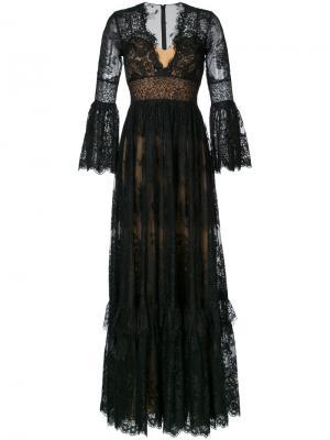 Кружевное длинное платье с V-образным вырезом Zuhair Murad. Цвет: чёрный