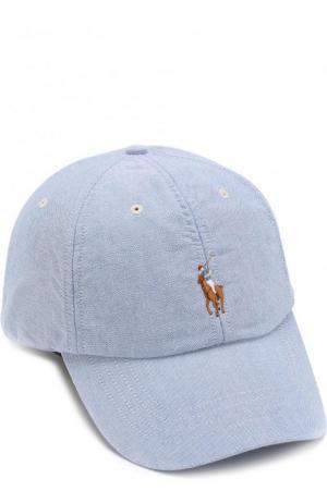 Хлопковая бейсболка с логотипом бренда Polo Ralph Lauren. Цвет: голубой