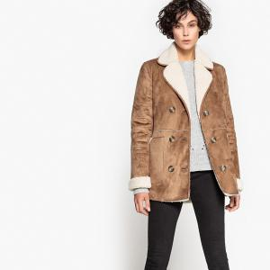 Пальто женское из бархатистой искусственной кожи SUD EXPRESS. Цвет: темно-серый