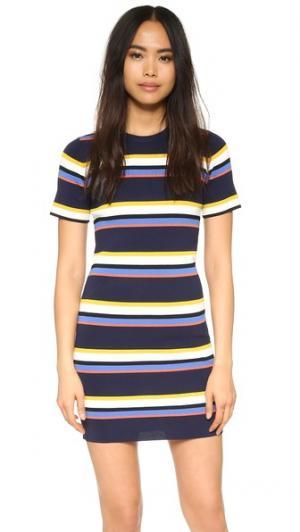 Трикотажное платье-футболка в полоску Whistles. Цвет: мульти