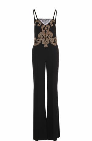 Приталенный комбинезон с декоративной вышивкой Roberto Cavalli. Цвет: черный