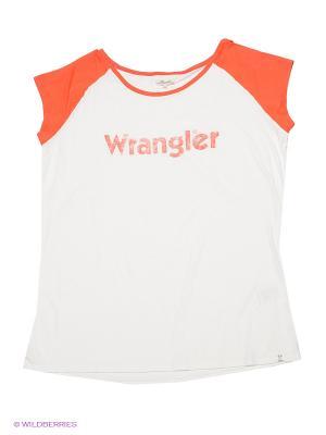 Футболка Wrangler. Цвет: молочный, оранжевый