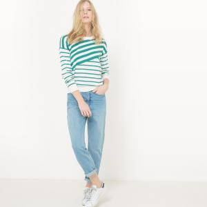 Пуловер с круглым вырезом и рисунком в асимметричную полоску La Redoute Collections. Цвет: в полоску зеленый/экрю