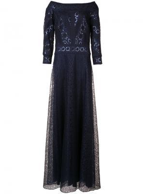 Вечернее платье с пайетками Tadashi Shoji. Цвет: синий
