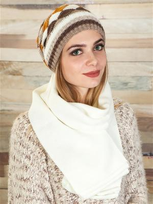 Комплект (шапка, шарф) LORICCI. Цвет: молочный