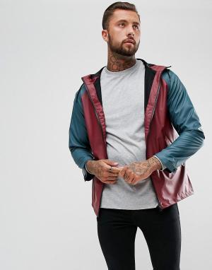 Another Influence Непромокаемая куртка с контрастными рукавами реглан. Цвет: темно-синий