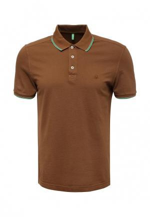 Поло United Colors of Benetton. Цвет: коричневый