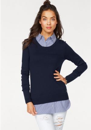 Пуловер 2 в 1 AJC. Цвет: светло-серый меланжевый/белый