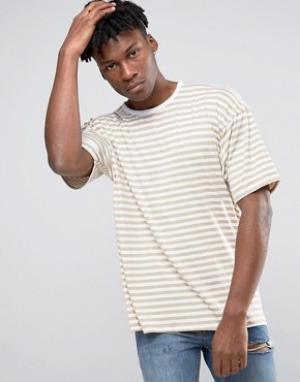 Other UK Oversize-футболка в полоску с заниженной линией плеч. Цвет: stone