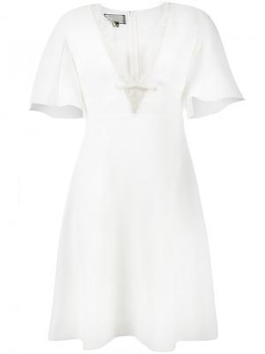 Платье с V-образным вырезом и кружевной отделкой Giambattista Valli. Цвет: телесный