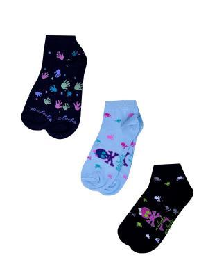 Носки женские,комплект 3шт Malerba. Цвет: синий, голубой