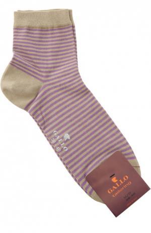 Хлопковые носки в полоску Gallo. Цвет: бежевый