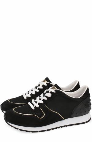 Комбинированные кроссовки на шнуровке Tod's. Цвет: черный