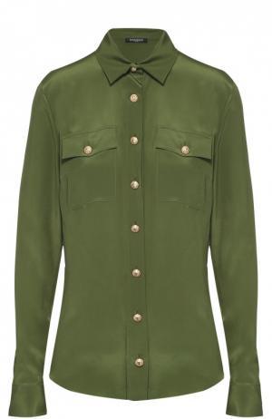 Шелковая блуза прямого кроя с накладными карманами Balmain. Цвет: оливковый