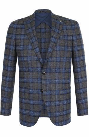 Однобортный шерстяной пиджак в клетку Sartoria Latorre. Цвет: синий