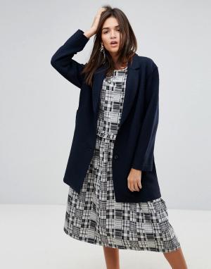 YMC Шерстяное пальто с необработанным краем. Цвет: темно-синий