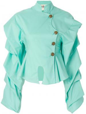 Рубашка с баской и оборками A.W.A.K.E.. Цвет: зелёный