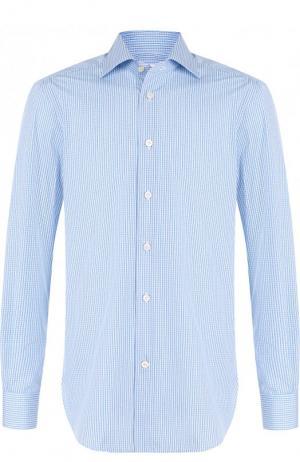 Хлопковая рубашка с воротником кент Kiton. Цвет: голубой