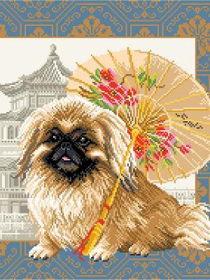 Рисунок на канве Пекинес в Пекине Матренин Посад. Цвет: бежевый, синий