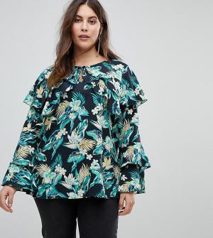 Koko Блузка с длинными рукавами и цветочным принтом. Цвет: мульти