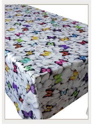 Скатерть с фотопринтом Бабочки на камнях, 150x150 см Magic Lady. Цвет: белый, черный, зеленый, серый, голубой, фиолетовый, красный, оранжевый, желтый