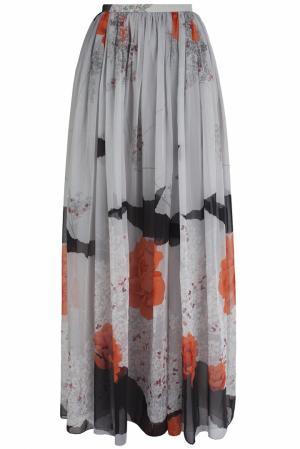 Юбка в пол (80-е) Hanae Mori Paris. Цвет: серый, оранжевый, черный