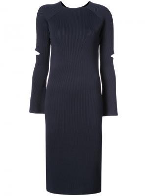 Платье-свитер в рубчик Nomia. Цвет: синий