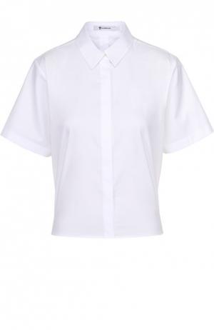 Укороченная хлопковая блуза прямого кроя T by Alexander Wang. Цвет: белый