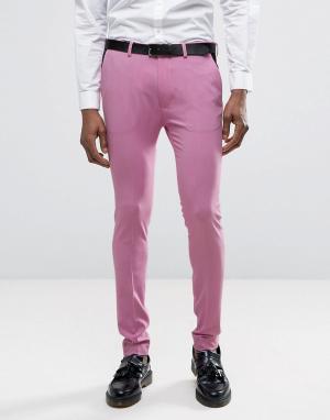 ASOS Розовые супероблегающие брюки. Цвет: розовый